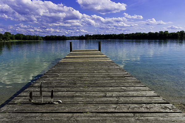 Blue Lagoon: an artificial Lake near Munich - the Regattasee, summer afternoon