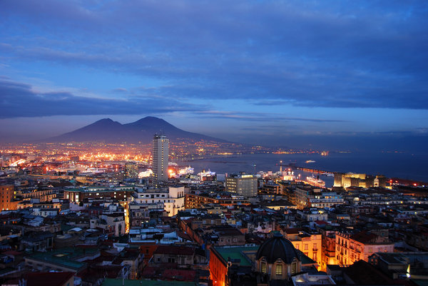 sunset - bay of naples: sunset at bay of naples, vesuvio in background