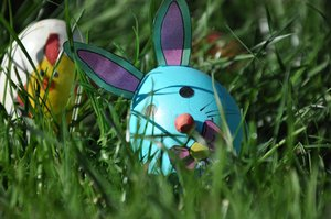 Easter egg waiting to be found: Little bunny egg painted by grandma!