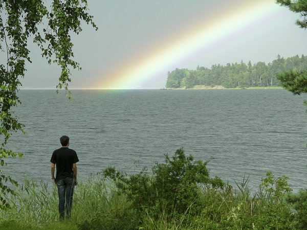 After the rain 2: Rainbow in Swedish archipelago