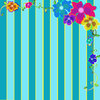 Striped Flower Frame: visit my site ozaidesigns.com for more of my free illustrations!Striped background with floral decorations in the corners. **If you download this for online use, PLEASE send me a link :)