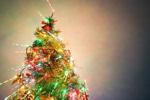 Christmas Tree 12: Photo of christmas tree with light zooming