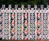 fence, painted Maori style: picket fence, painted with Maori designs, Rotorua, New Zealand