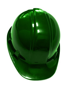 green hard hat: green metallic finish to hard hat