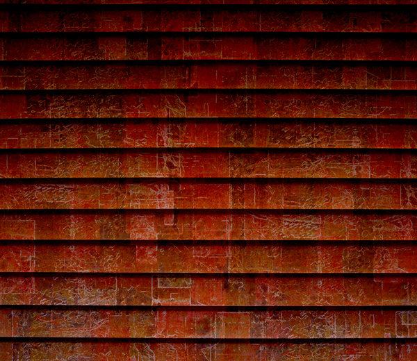 Rusty patterned slats: composite photo, filters on one to create texture, overlaid with slats image.