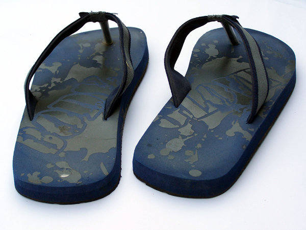 Summer footwear: various names for summer footwear being jandals, flip-flops, thongs, sandals