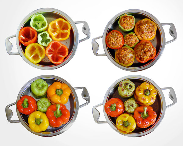 preparing stuffed peppers: peppers in pan on white: empty, stuffed, covered and finally baked.