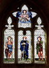 Decorated abbey window: A painted glass ornate window in Malmesbury abbey, Wiltshire, England. Photography of the inside and outside of this building is freely permitted.