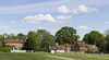 Village green: Part of a village green, with cricket pitch, in West Sussex, England.