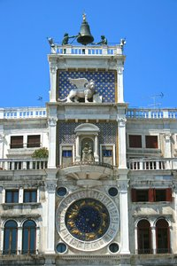 Venice clock tower: St Mark's Clock, the clocktower on the Piazza San Marco, Venice.