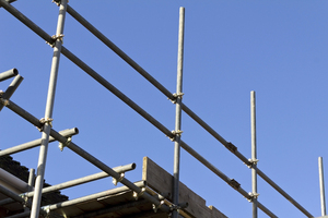 Scaffolding: Scaffolding in construction on a building site in England.