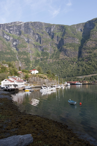 Fjord harbour: A harbour at the end of an arm of the Sognefjord, Norway.