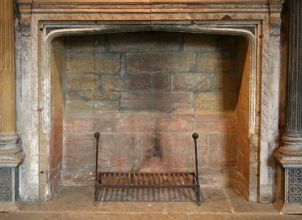 Old fireplace: An old fireplace in an historic house in Somerset, England.