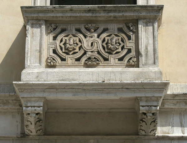 Old stone balcony: An old stone balcony in Padua, Italy.