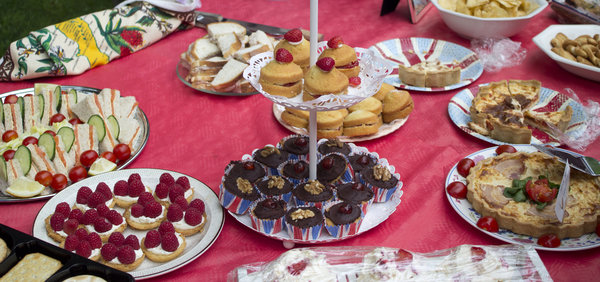 Cakes for tea: Cakes and savoury foods produced for a Jubilee street party.