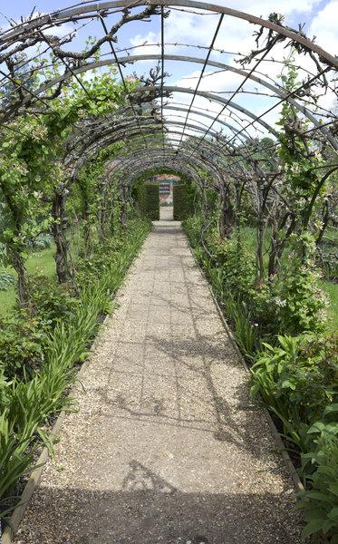 Garden Pergola In Spring: A Pergola In An English Garden In Spring.