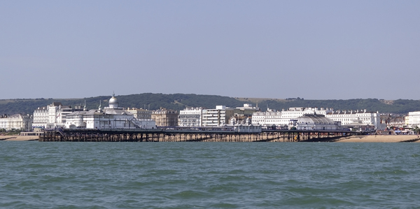 Seaside pier: Eastbourne pier, East Sussex, England.