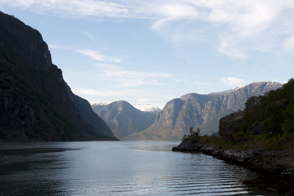 Fjord at dusk: A fjord in evening light in Norway.