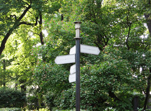 guidepost in the park: none