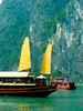 JUNK HOTEL: Vietnam, Halong Bay... one of the JUNK hotel... had they sail up...sailing away...