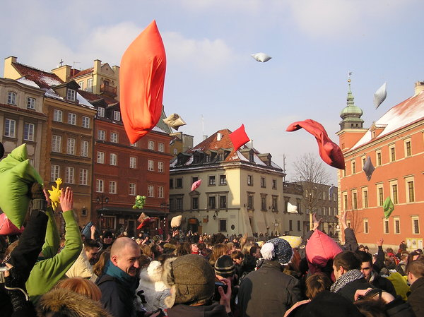 Pillow battle: A pillow fight in Warsaw