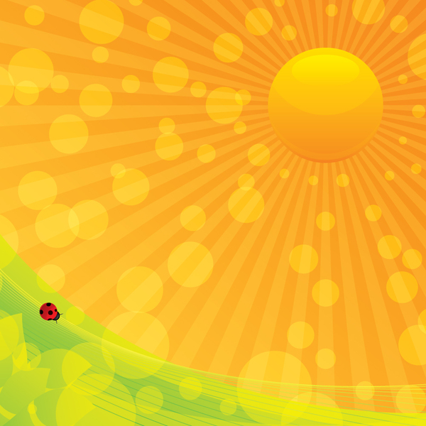 Abstract Background: Abstract Background with Ladybug and Sun