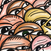 Crowd of People: Digitally painted illustration of a group of diverse faces.