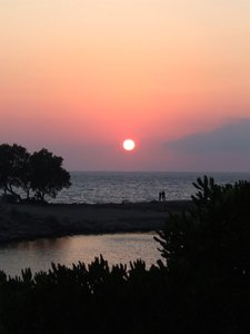 crete sunset: island of crete - greece, sunset in sissi - little fishermans-village