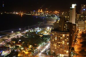 Durban, South Africa: Night view of Durban bay,  Kwa-Zulu Natal, South Africa
