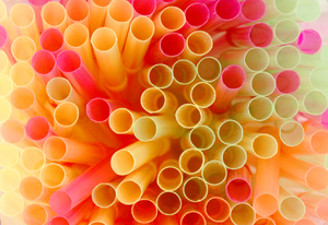 Drinking Straws: Colourful drinking straws looking down from above