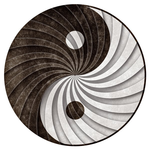 Yin Yang Grunge Cycle: Grunge textured yin yang symbol with a shaded revolving pattern to create more depth and contrast. Isolated on a pure white background for your convenience.