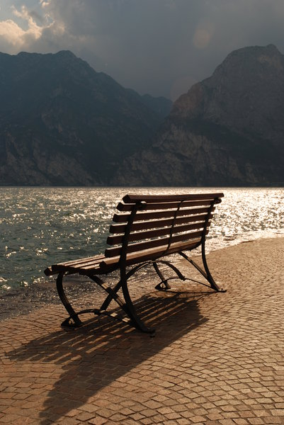 Bench at Lake: Bench at lake, Italy.
