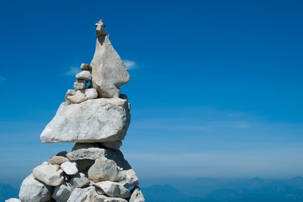 Rock Piles 1: Piles of rocks built by visitors passing at Monte Baldo, Italy.
