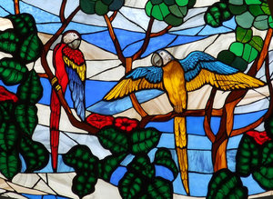 fragile birds: stained glass window