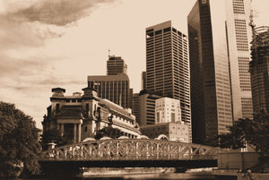 old & new in Singapore: sepia tone of old and new architecture in Singapore