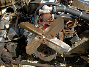 scrapped: scrapped and dumped old car engine
