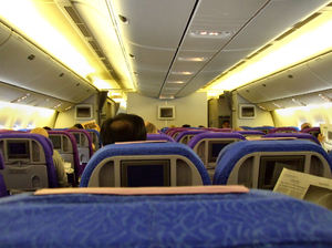 up in the air2: passengers and cabin interior on international flight