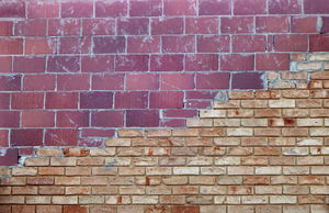 solid merger5: mixed bricks colours, textures and variations in same single modern brick wall