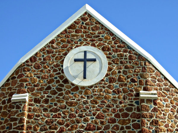 stone architecture: former facade top at St John's Lutheran Church, Northbridge, Perth, Western Australia