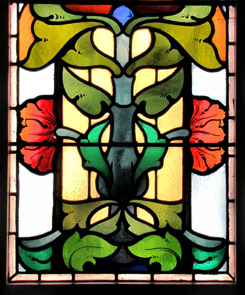 Historic patterned windows2: historic old abstract stained glass window