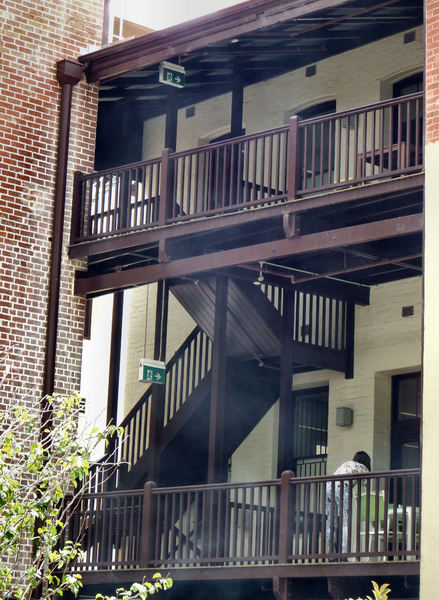 balcony stairs: historic wooden balconies and stairs