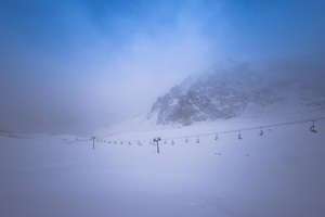 Ski Lift in Fog: Ski Resort