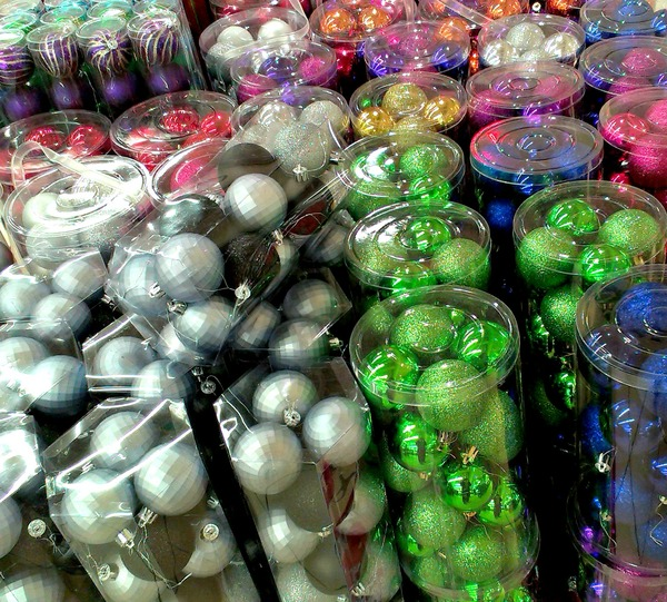 Christmas decorations: Tubes of Christmas decorations on display
