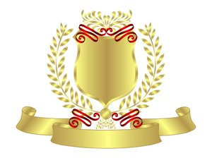 Gold Shield Red Ribbon: Gold Shield With Red Ribbon