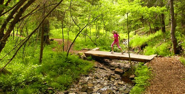 To Grandma's house: My daughter crossing a brook to a winding path through the woods in Wolfville, Nova Scotia, Canada