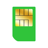 Green SIM Card: Green SIM card on a white background.