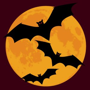 Bat Moon Maroon: Bats silhouetted against a full moon in a night sky.