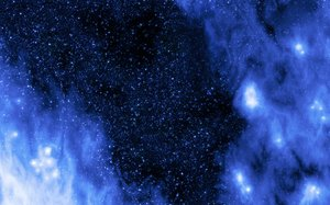 Starscape: Digital render of a nebula showing stellar birth clouds with a rich starfield background.  Blue theme.