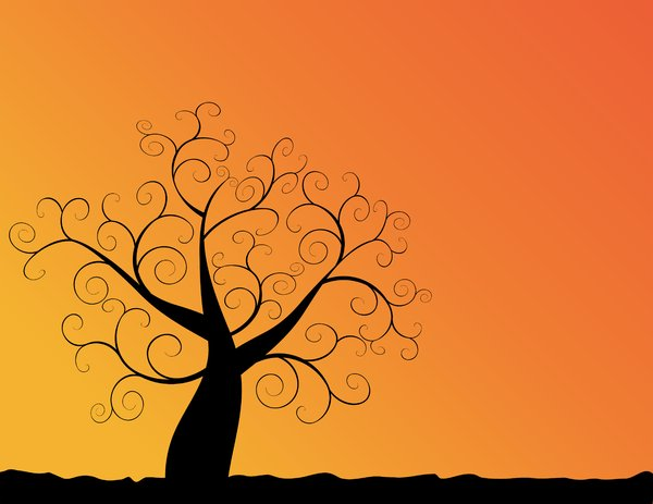 Autumn Sunset 2: Abstract swirly tree with autumn leaves and sunset orange background..