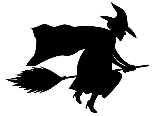 Witch Silhouette: No frills witch on broom silhouette.